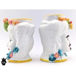 Testa di moro con fichi d'India-ceramiche di Caltagirone-laterale