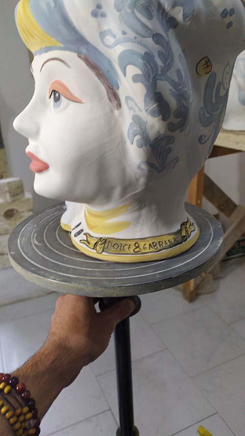 decorazione testa di moro in ceramica